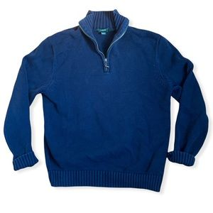 J. Crew Men's 1/4 Zip Pullover Knit Sweater - Navy